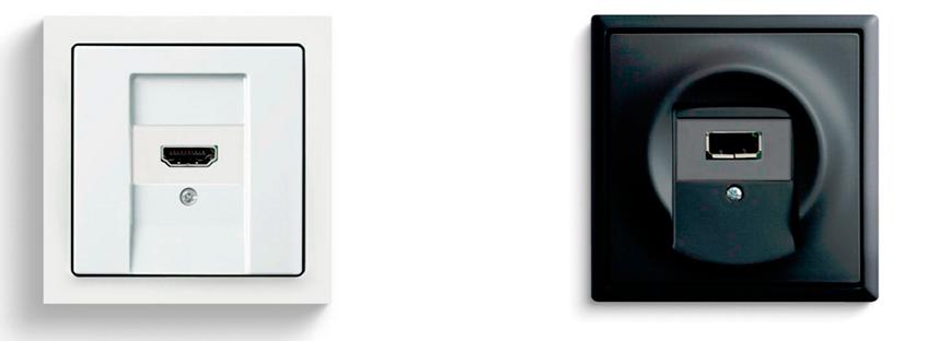 USB и HDMI разъемы от Busch-Jaeger